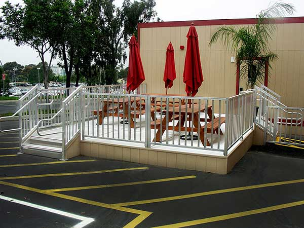 Titan Modular Wheelchair Ramp Platforms with ADA OSHA Stairs